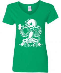 Jack Skellington Irish Shamrock copy V-Neck T-Shirt