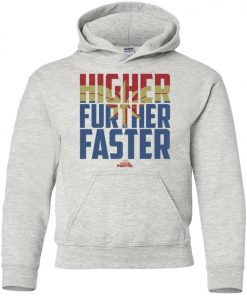 Retro Captain Marvel Higher Further Faster Youth Hoodie