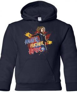 Captain Marvel Higher Further Faster Youth Hoodie
