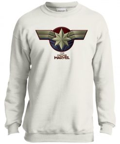 Captain Marvel Distressed Star Ribbon Youth Sweatshirt
