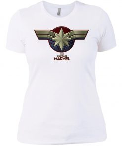 Captain Marvel Distressed Star Ribbon Women's T-Shirt