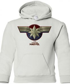 Captain Marvel Distressed Star Ribbon Youth Hoodie
