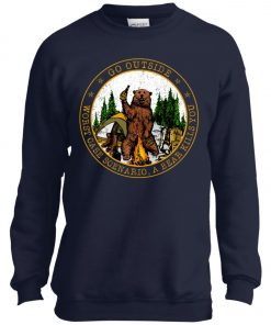 Camping Funny Go Outside Bear Youth Sweatshirt