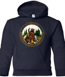 Camping Funny Go Outside Bear Youth Hoodie