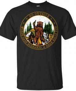 Camping Funny Go Outside Bear Youth T-Shirt