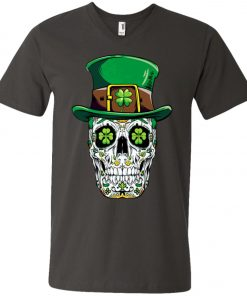 Irish Sugar Skull St Patrick's Day V-Neck T-Shirt