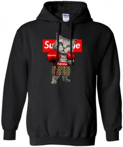 Supreme Boxing Cat Funny Pullover Hoodie