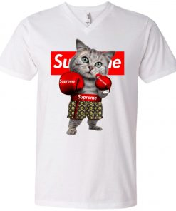 Supreme Boxing Cat Funny V-Neck T-Shirt