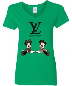 Louis Vuitton Mickey And Minnie Women's V-Neck T-Shirt