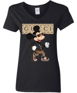 Stylist Gucci Mickey Mouse Women's V-Neck T-Shirt