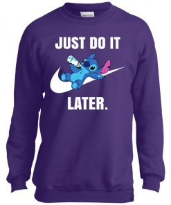 Just Do It Later Disney Stitch Youth Sweatshirt
