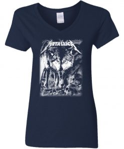 Metallica Of Wolf And Man Women's V-Neck T-Shirt