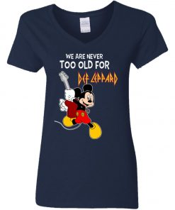 Mickey Never Too Old For Def Leppard Women's V-Neck T-Shirt