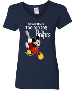 Mickey Never Too Old For The Beatles Women's V-Neck T-Shirt