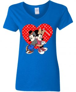 Supreme Louis Vuitton Mickey And Minnie Women's V-Neck T-Shirt