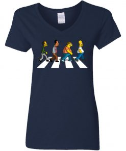 The Beatles Abbey Road The Simpsons Women's V-Neck T-Shirt