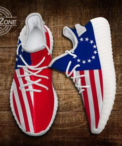 BETSY ROSS AMERICAN FLAG LIMITED EDITION WHITE YEEZY SNEAKER RUNNING BOOTS