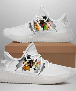 CHICAGO BLACKHAWKS LIMITED EDITION WHITE YEEZY SNEAKER SHOES