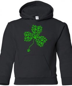 Dog Paw Shamrock Lucky Glover Premium Youth Hoodie
