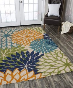 Broadus Power Loom Green Blue Orange Rug