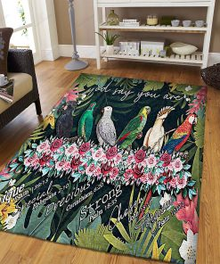 Parrot God Say You Are Unique Rug