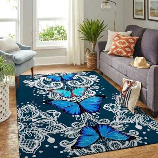 White Blue Butterflies Rug