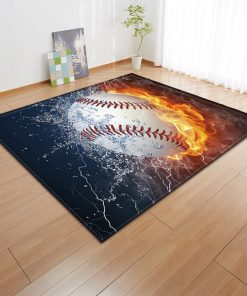 3D Baseball Ice Fire Rug Carpet