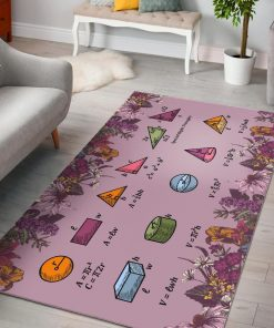Floral Math Equations Area Rug Carpet