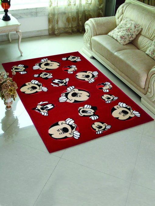 Mickey Mouse Happy Face Red Rug Carpet