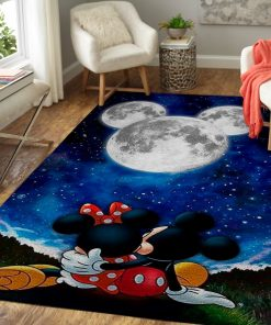 Mickey And Minnie Mouse Love You To The Moon and Back Rug Carpet