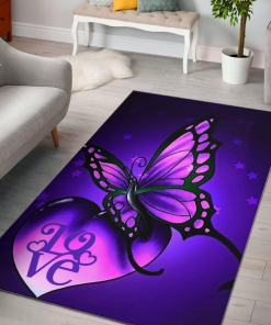 Awesome Purple Butterfly Star Love Limited Edition Rug Carpet