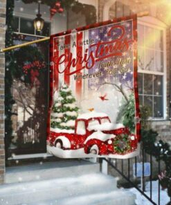 Take A Little Christmas With You Red Truck America Flag