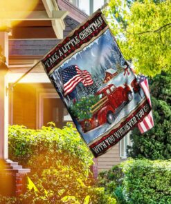 Take A Little Christmas With You Red Truck American Flag DS08F