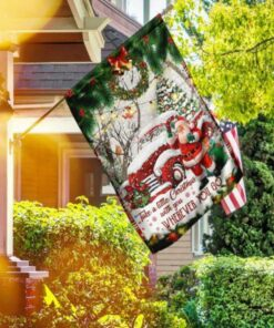 Take A Little Christmas With You Red Truck Santa Claus Flag DS03F